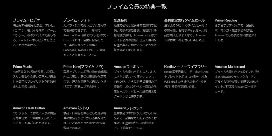 Amazonプライムの会員特典一覧表