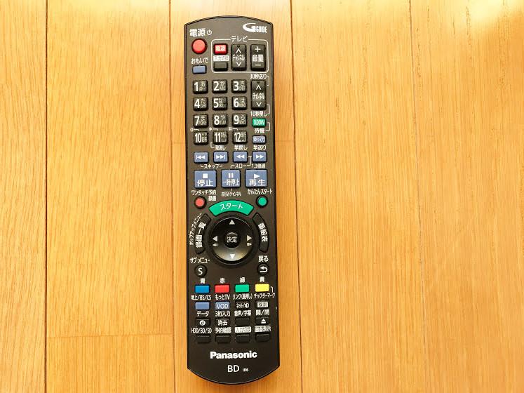 ブルーレイディスクレコーダーのリモコン