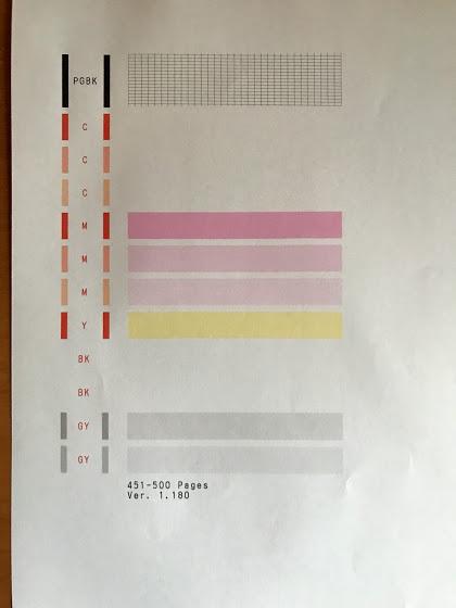 キャノンのプリンターTS8030でのノズルチェックパターン印刷結果