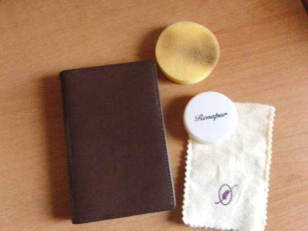 ダヴィンチのシステム手帳アースレザーポケットサイズをラナパーでメンテナンス