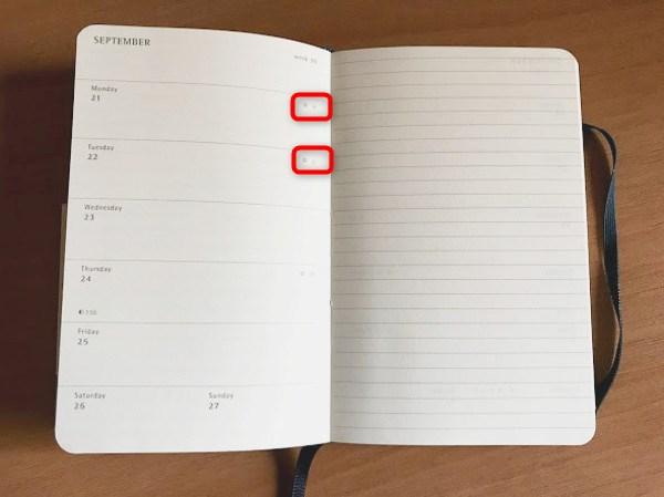 モレスキン ポケットサイズ  ウィークリー 祝日表記