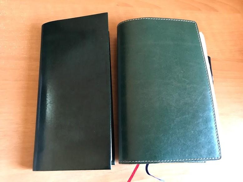 ほぼ日手帳weeks用リサイクルレザーカバーとジブン手帳Biz mini用革カバー